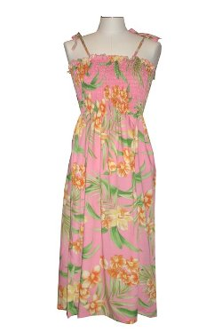 Ky International - Island Floral Hawaiian Elastic Dress