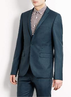 Topman - Teal Ultra Skinny Suit Jacket