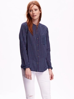 Old Navy - Striped Mandarin-Collared Top