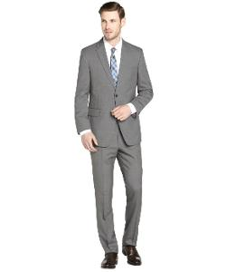 Tommy Hilfiger - Grey Striped Wool 2-Button Suit with Flat Front Pants