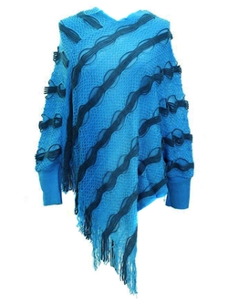 G2 Chic - Knit And Faux Fur Poncho With Fringe Sweater