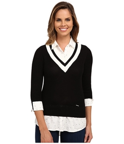 U.S. Polo Assn.  - Dot Print Shirt and Cropped V-Neck Sweater