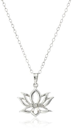 Amazon Collection - Diamond-Accent Lotus Flower Pendant Necklace