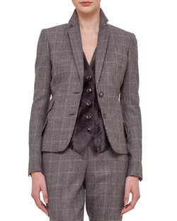 Akris - Fine Windowpane Cashmere-Blend Blazer