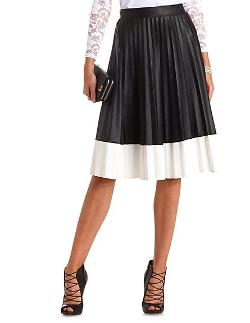Charlotte Russe - Faux Leather Pleated Color Block Full Midi Skirt