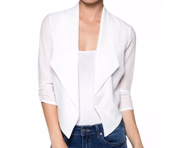 Apparel Sense - Casual Open Front Fitted Crop Blazer