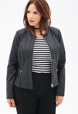 Forever 21 - Faux Leather Bomber Jacket