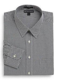 Saks Fifth Avenue  - Regular-Fit Mini-Check Cotton Dress Shirt
