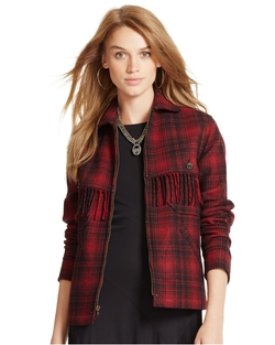 Ralphlauren - Fringed Plaid Wool Jacket