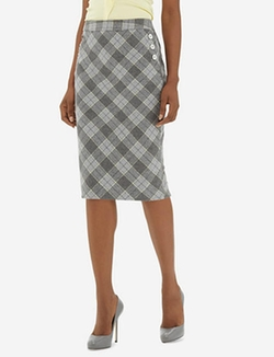 The Limited - High Waist Plaid Pencil Skirt