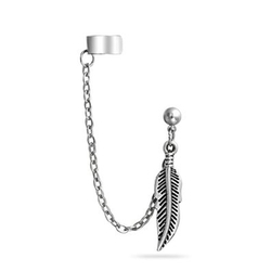 Bling Jewelry  - Feather Dangle Chain Ear Cuff Earrings