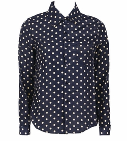 Koineco - Button Front Polka Dot Blouse