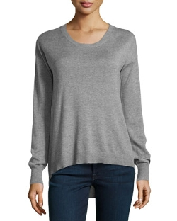Neiman Marcus  - Scoop-Neck High-Low Sweater