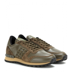 Valentino - Rockstud Suede And Leather Sneakers