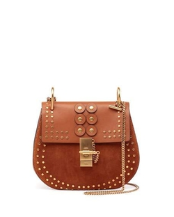 Chloe  - Drew Studded Suede & Leather Shoulder Bag
