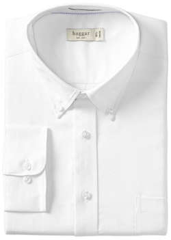 Haggar - Regular-Fit Pinpoint Oxford Solid Dress Shirt