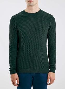 Topman - Khaki Wavey Textured Crew Neck Sweater