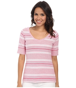 Pendleton - Stripe V-Neck Rib Tee Shirt