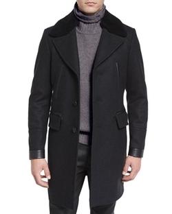 Belstaff - Shearling-Collar Melange Overcoat