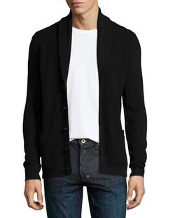 John Varvatos Star Usa - Shawl-Collar Waffle-Knit Cardigan