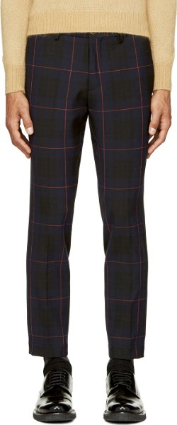 MSGM - Navy and Red Plaid Trousers