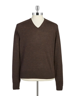 Brooks Brothers  - Fleece Merino Wool V-Neck Sweater