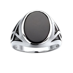 J.Goodman - Black Bhodium Accent Onyx Ring
