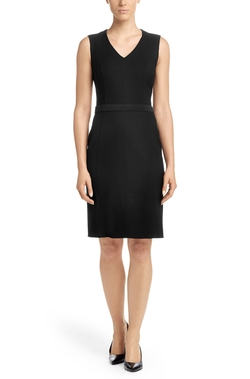 Boss - Belted Stretch Virgin Wool Blend Sheath Dress