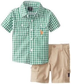 U.S. Polo Assn.  - Infant Short Sleeve Gingham Check Shirt