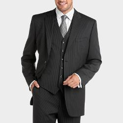 Jones New York  - Charcoal Multistripe Vested Modern Fit Suit