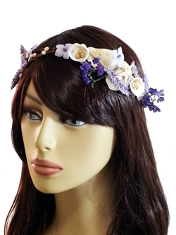 EmilyRose Couture - Purple Mermaid Beachy Wedding Headpiece-Shells