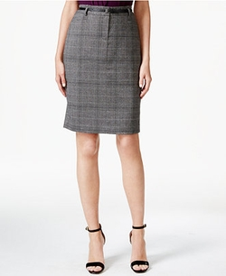 Calvin Klein - Woven-Plaid Pencil Skirt