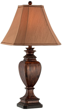 Universal Lighting and Decor - Brown Wood Grain Pedestal Table Lamp