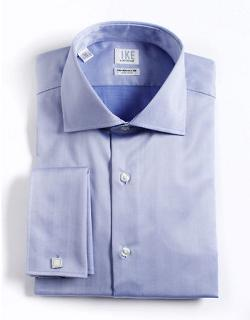 Ike By Ike Behar  - Regular Fit French Cuffed Herringbone Cotton Dress Shirt