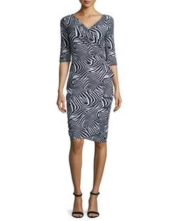 La Petite Robe Di Chiara Boni - 3/4-Sleeve Zebra-Print Ruffle-Front Dress