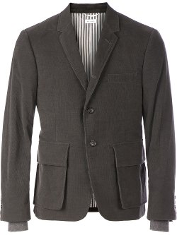 Thom Browne  - Underlayered Ribbed Cuffs Blazer