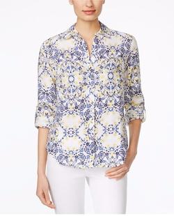 Charter Club - Linen Floral-Print Shirt