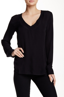 David Lerner - Mitered V-Neck Silk Blouse