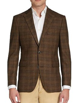 Saks Fifth Avenue Black - Wool Plaid Sportcoat