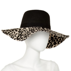 Mixit - Animal-Print Brim Floppy Hat