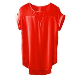 WZRT - V-Neck Fashion Asymmetric Hem T-Shirt