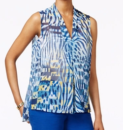 Anne Klein - Printed V-Neck Pleat-Front Blouse