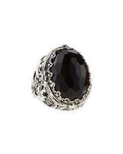 Konstantino   - Oval Black Onyx Open Filigree Ring