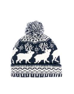 ASOS  - Bobble Beanie Hat with Stag Design