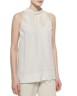 Brunello Cucinelli - Feather-Trimmed Halter-Neck Top