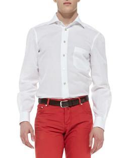 Kiton  - Linen-Blend Woven Solid Dress Shirt