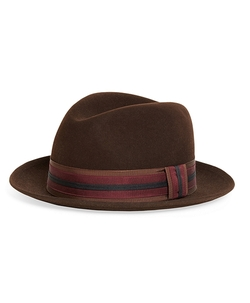 Brooks Brothers - Wool Fedora With Stripe Ribbon Hat