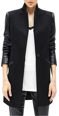 Lizhoumil - PU Leather Sleeve Woolen Coat