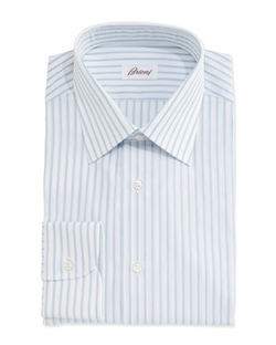 Brioni	  - Satin-Stripe Woven Dress Shirt
