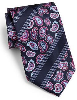 Brioni  - Paisley Stripe Silk Tie